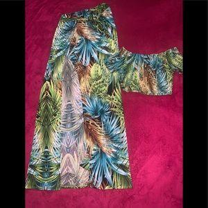 Fashion Nova Tropical Double Slit Skirt Set